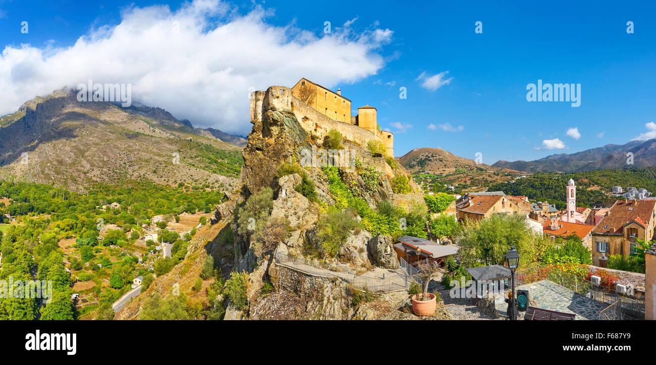 Corte, die Zitadelle in der Altstadt, Korsika, Frankreich Stockbild