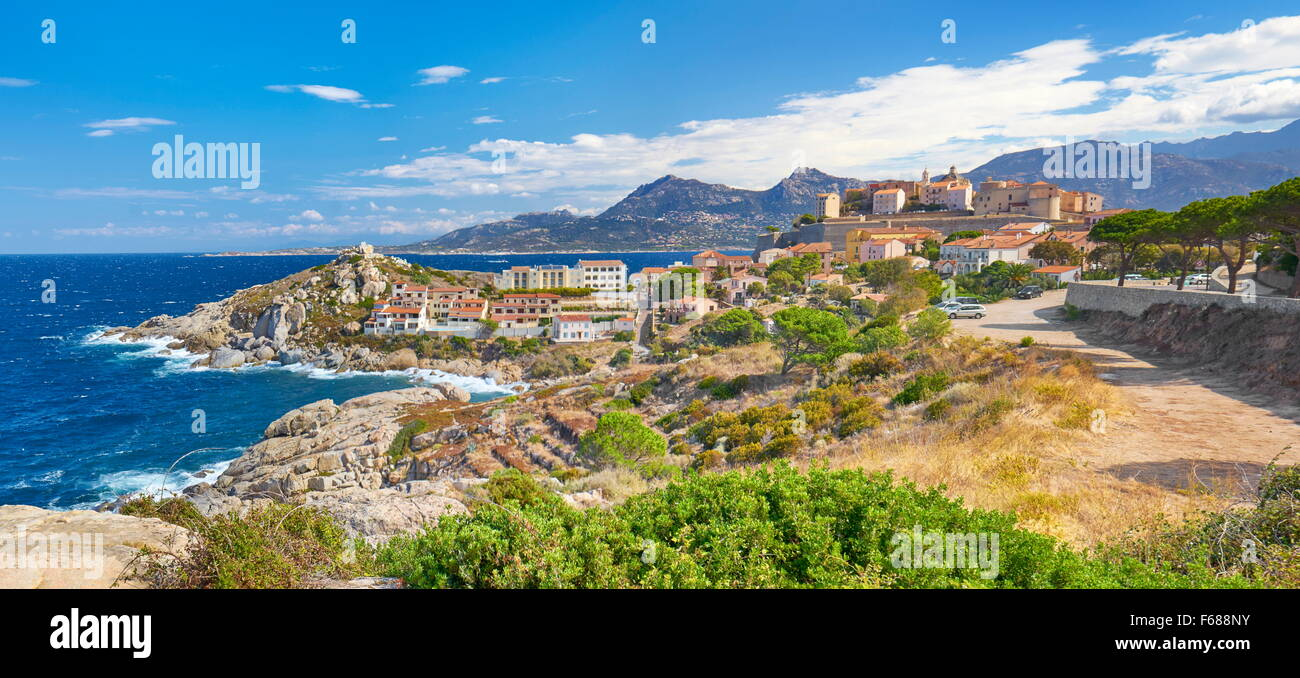 Les Calanches, Golfe de Porto, UNESCO, Dorf Piana, Korsika, Frankreich Stockbild