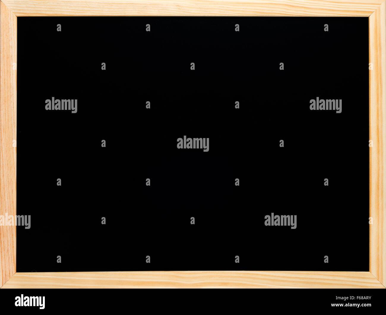 Rechteckige hölzerne Tafel oder Tafel. Leere schwarze Oberfläche bereit für Kreide Text schreiben Stockbild