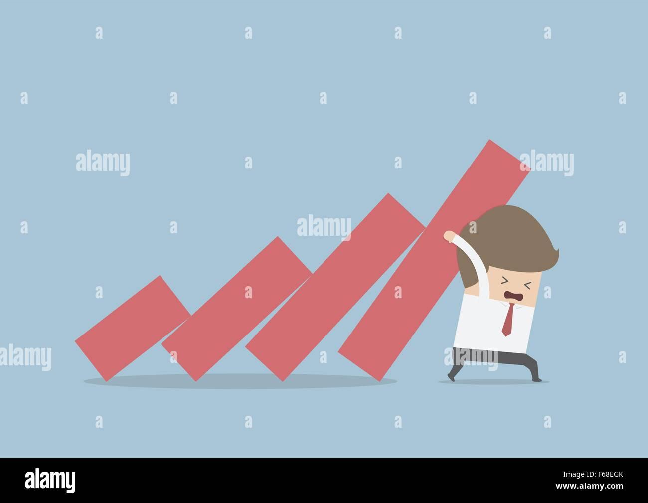 Geschäftsmann versucht, fallen zu stoppen Grafik, Vektor, EPS10 Stockbild