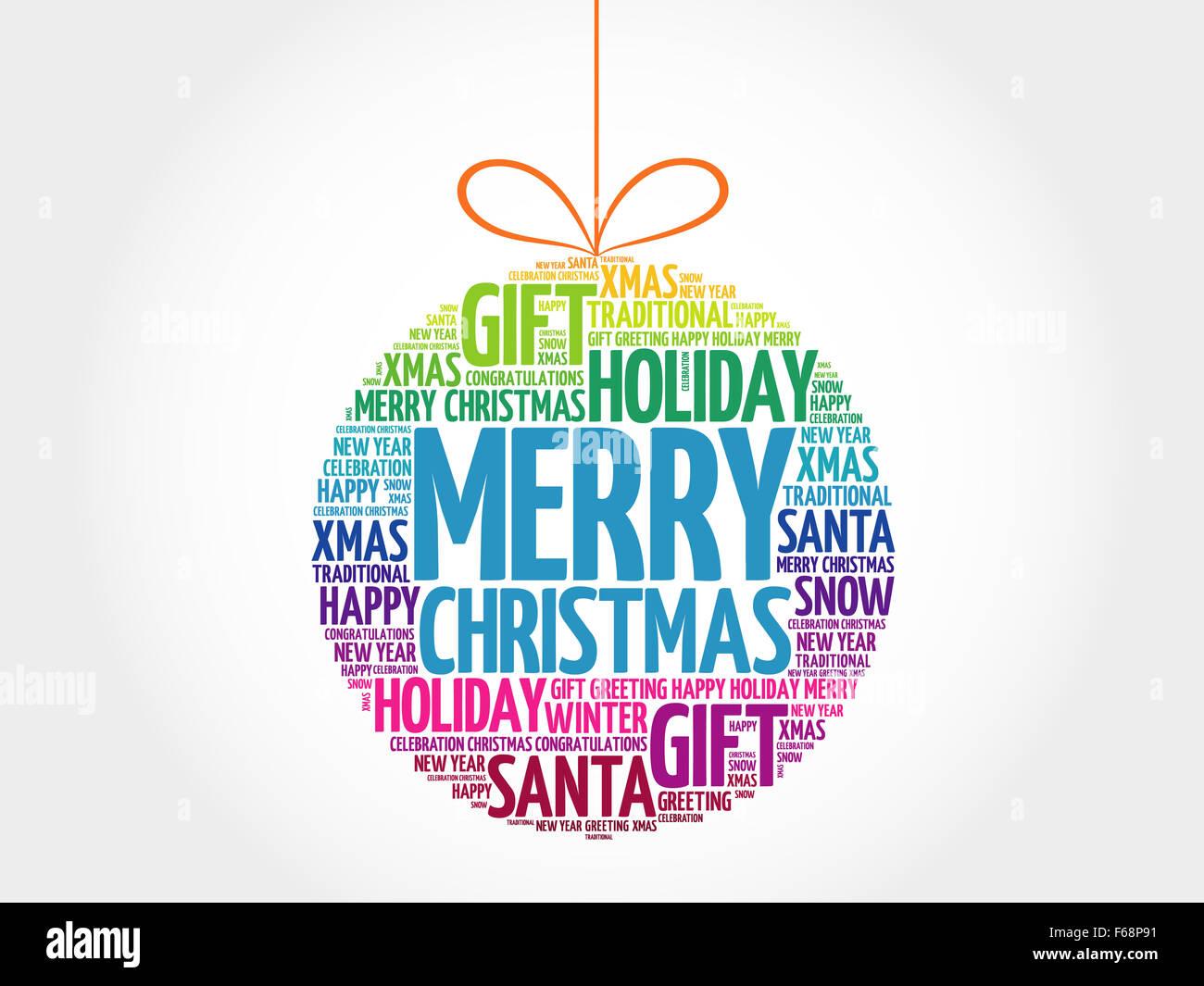 MERRY CHRISTMAS, Christmas Ball Wortwolke, Urlaub Schriftzug collage ...