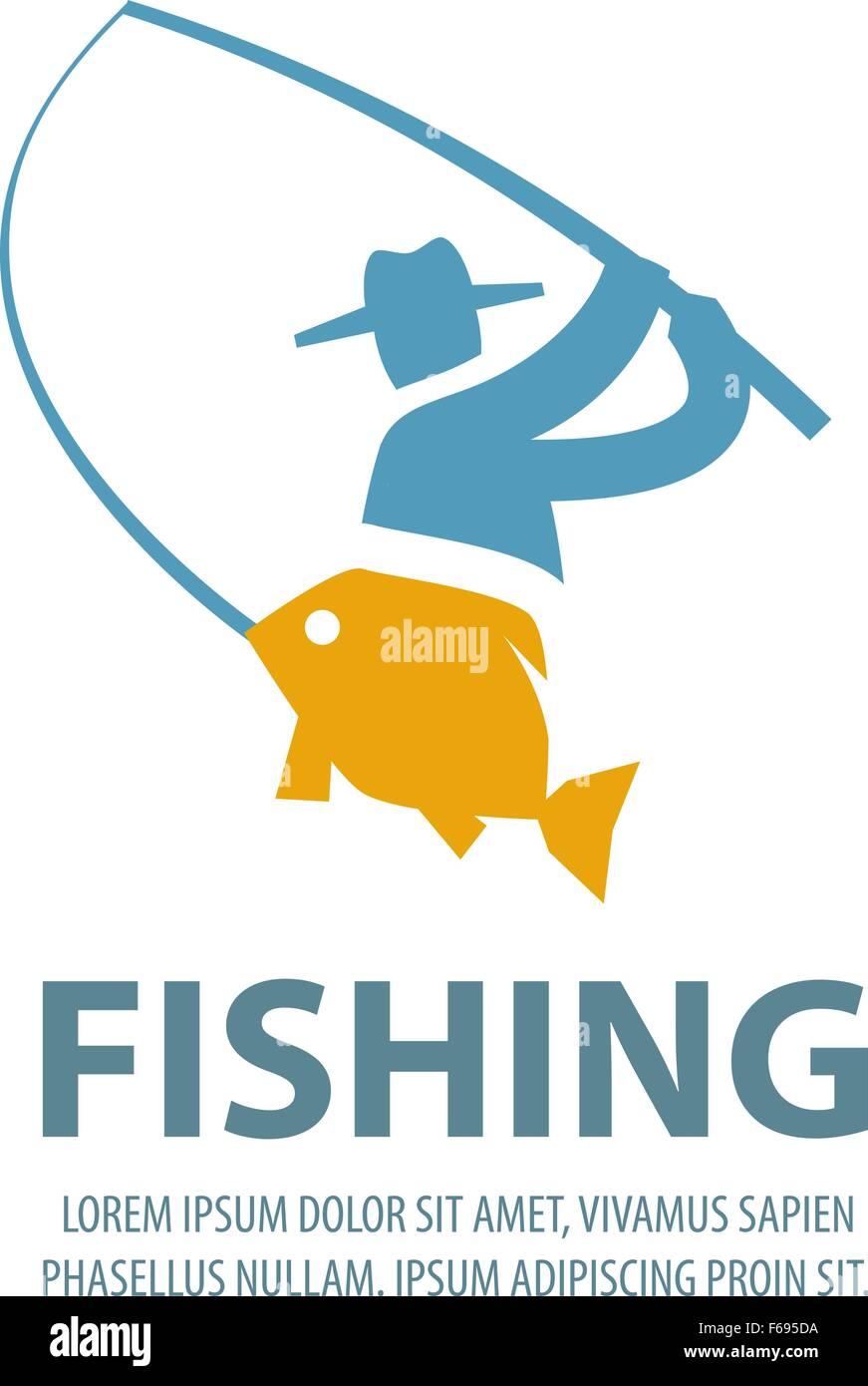 Angeln-Vektor-Logo-Design-Vorlage. Fischer, Fischer, Fischen oder ...