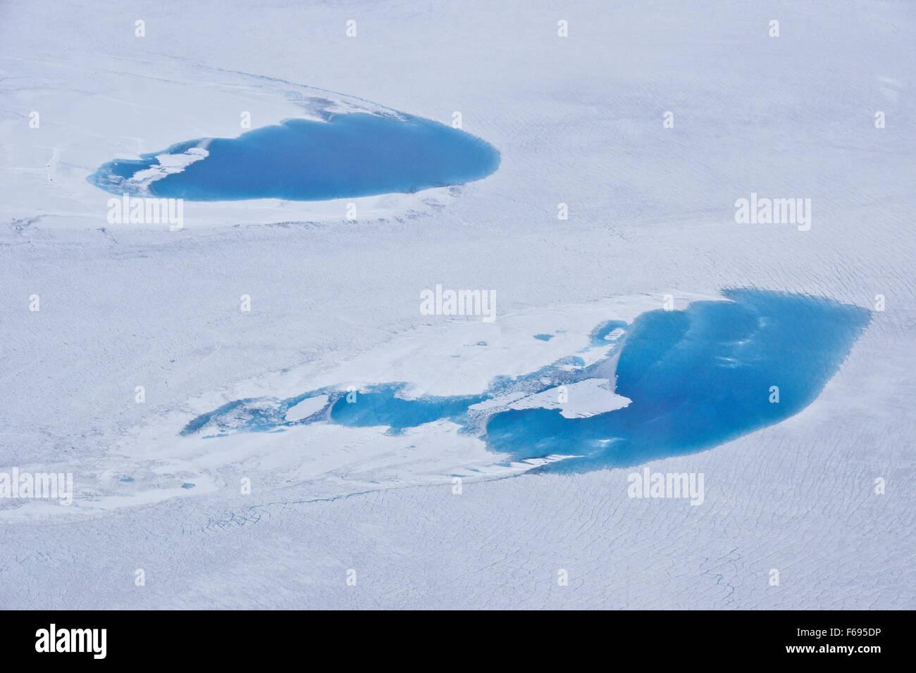 Luftaufnahme von Gletscherseen auf Grönland Eiskappe Stockbild