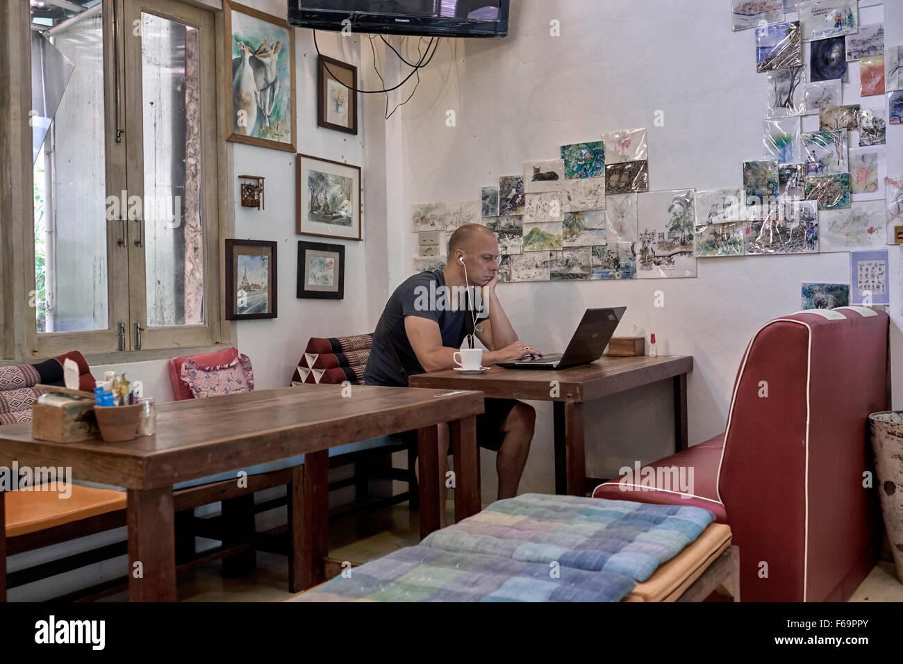 Kunstcafé Innenraum Pattaya Thailand S. E. Asien Stockbild