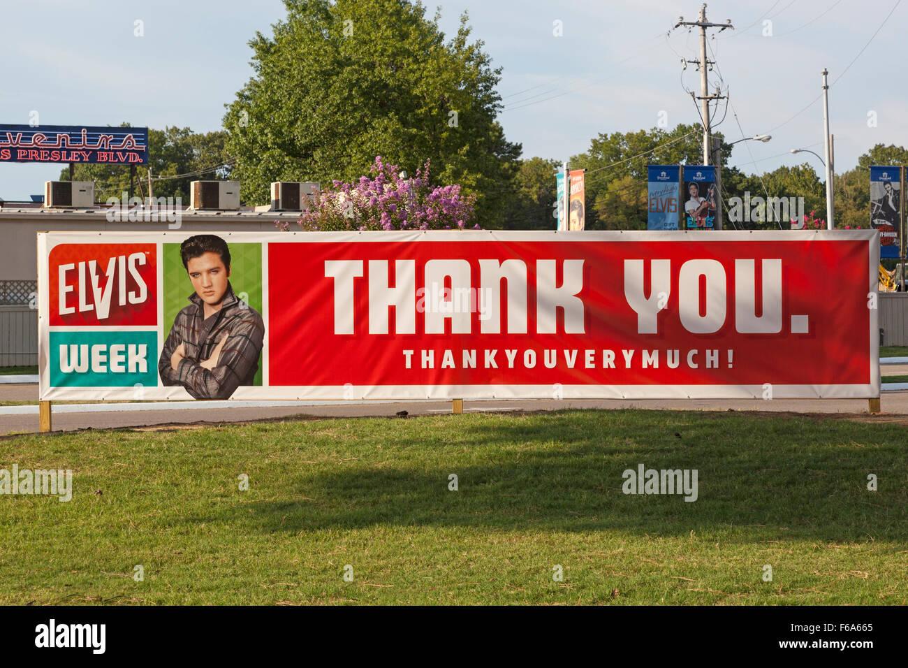 Danke vielmals, Elvis Week 2015, Graceland, Memphis Tennessee Stockbild