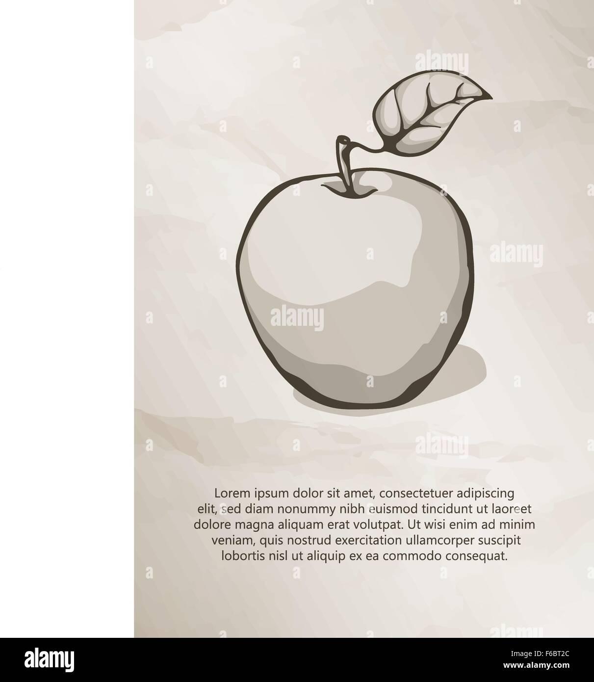 Apfel auf Grunge Hintergrund. Vintage Label, Logo, Rahmen ...