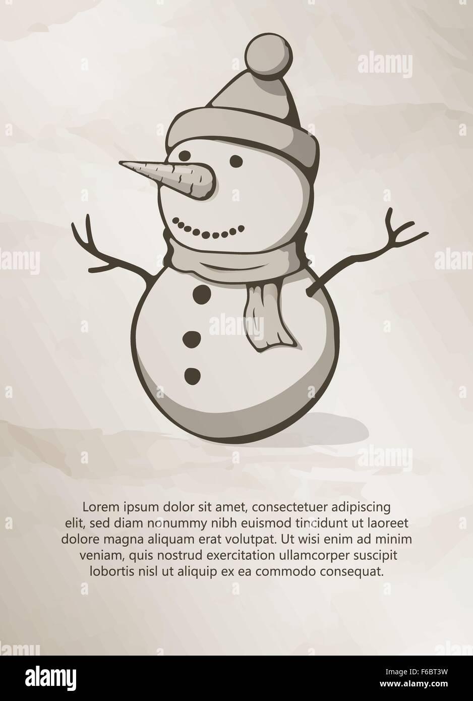 Weihnachten Schneemann Vintage Label Logo Rahmen Broschuren Design Vorlagen Vektor Illustration Stock Vektorgrafik Alamy