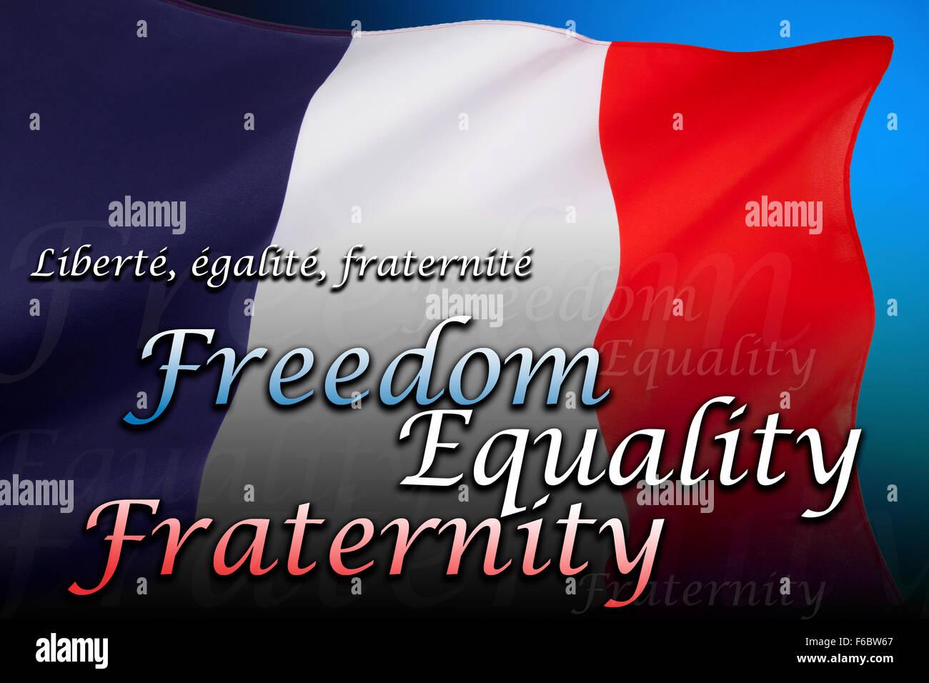 Die Nationalflagge Frankreichs - Freiheit, Gleichheit, Brüderlichkeit Stockbild