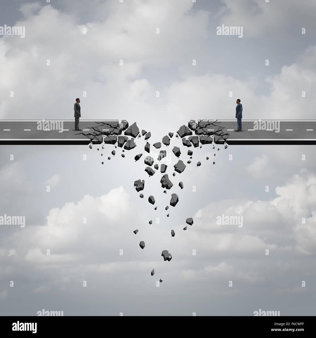 Geschäft scheitern Konzept als zwei Geschäftsmänner auf einer Straßenbrücke, die brechen Stockbild
