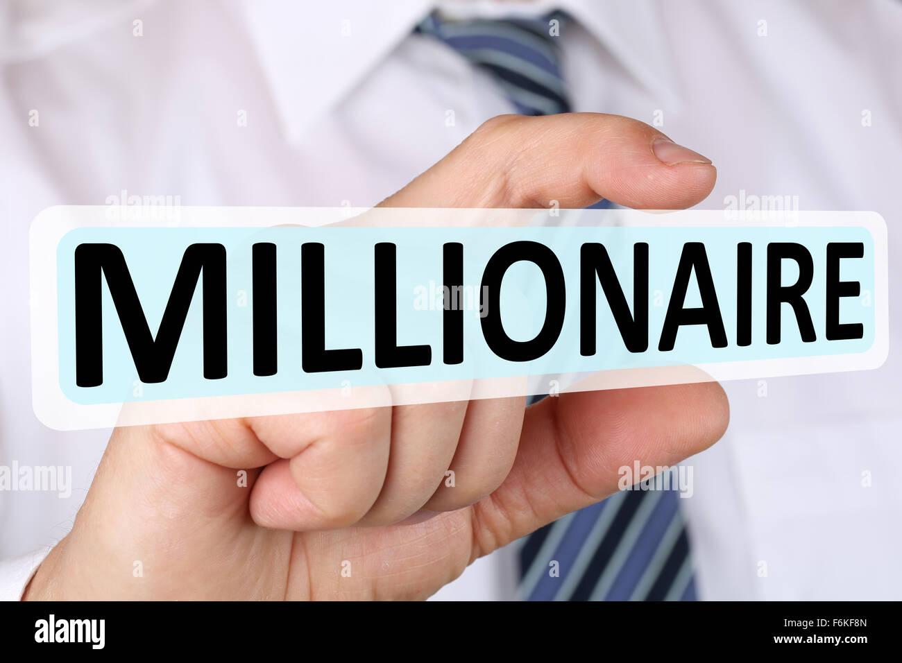 Geschäftsmann Konzept Millionär Reich Reichtum Erfolg erfolgreich Finanzen Unternehmensführung Stockbild