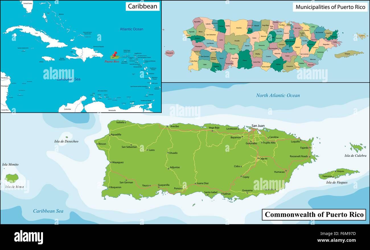 Puerto Rico Karte Vektor Abbildung Bild 90186081 Alamy