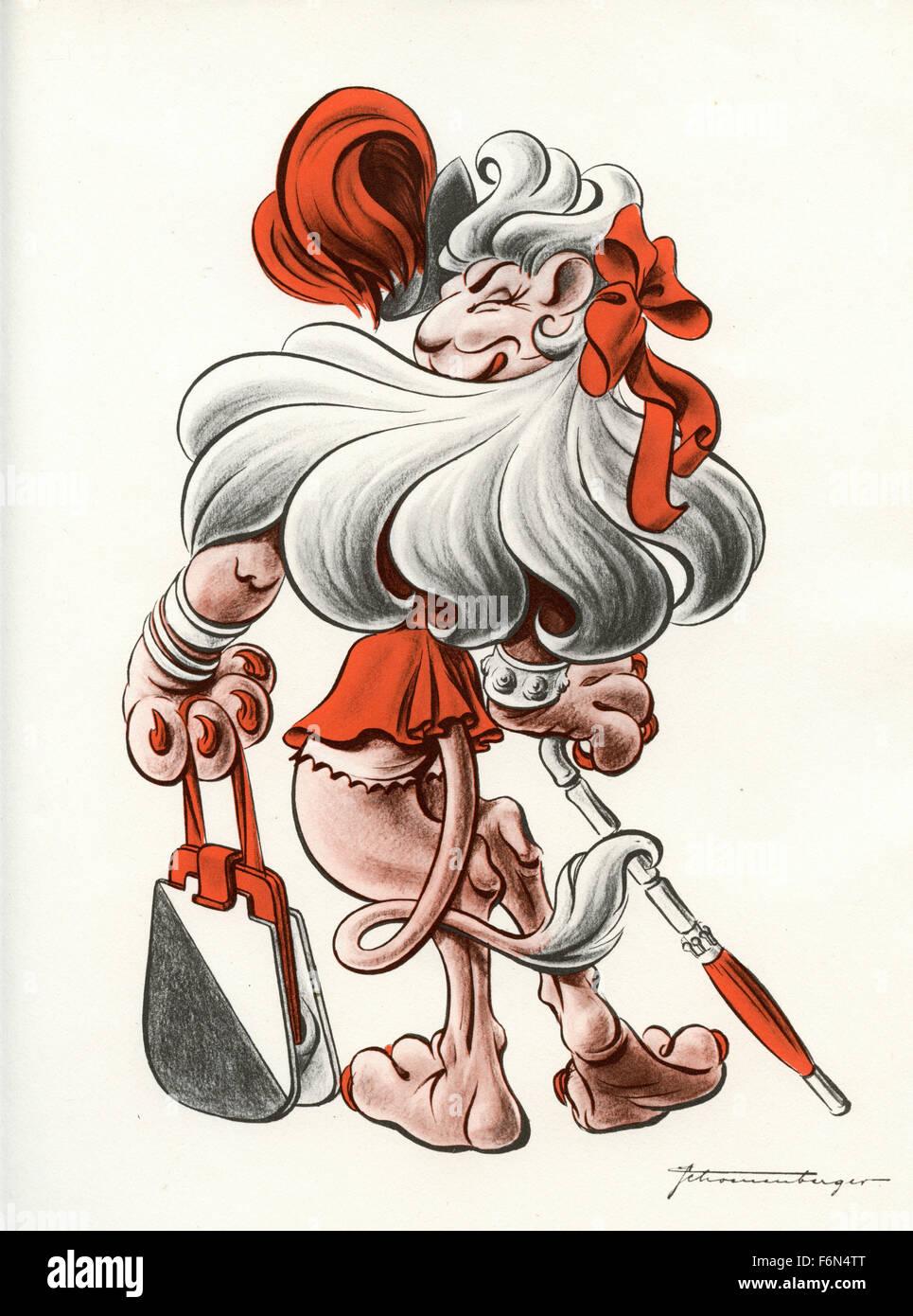 Deutschen satirischen Illustrationen 1950: ein Löwe anthropomorphized Stockbild