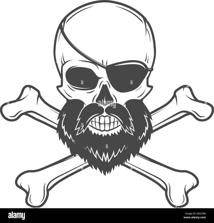 Piraten-Totenkopf mit Bart, Augenklappe und gekreuzten Knochen ...