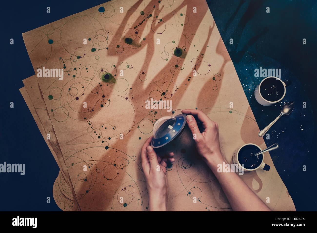 Begegnung mit Außerirdischen Stockbild