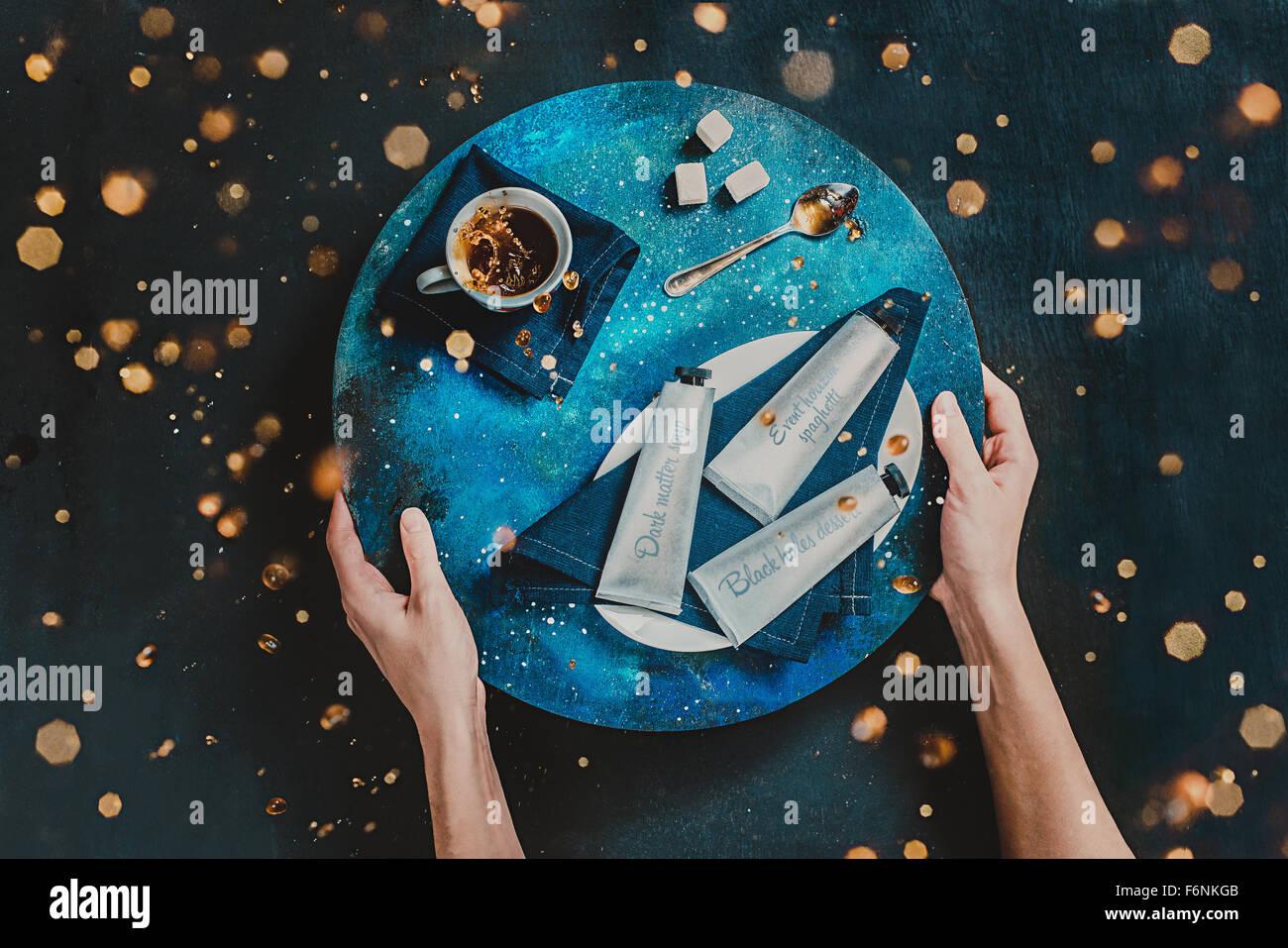 Zero Gravity Mittagessen Stockbild