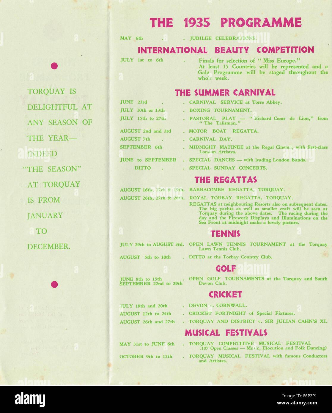 1935 Torquay touristischen Veranstaltungsprogramm Stockbild