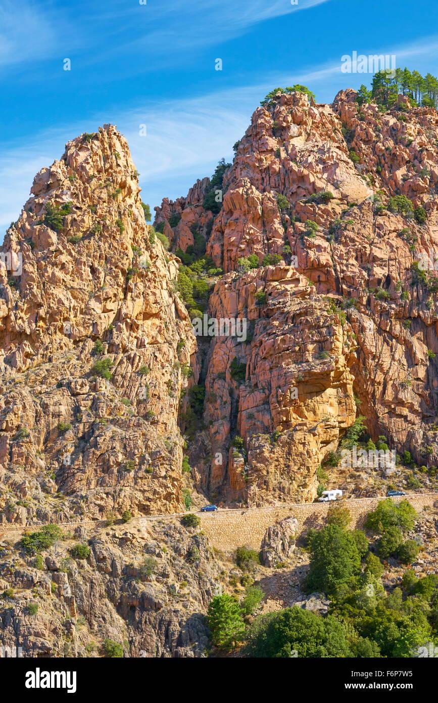 Korsika - Les Calanches, vulkanischen roten Felsen Formationen Berge, Golfe de Porto, Piana, Frankreich, UNESCO Stockbild