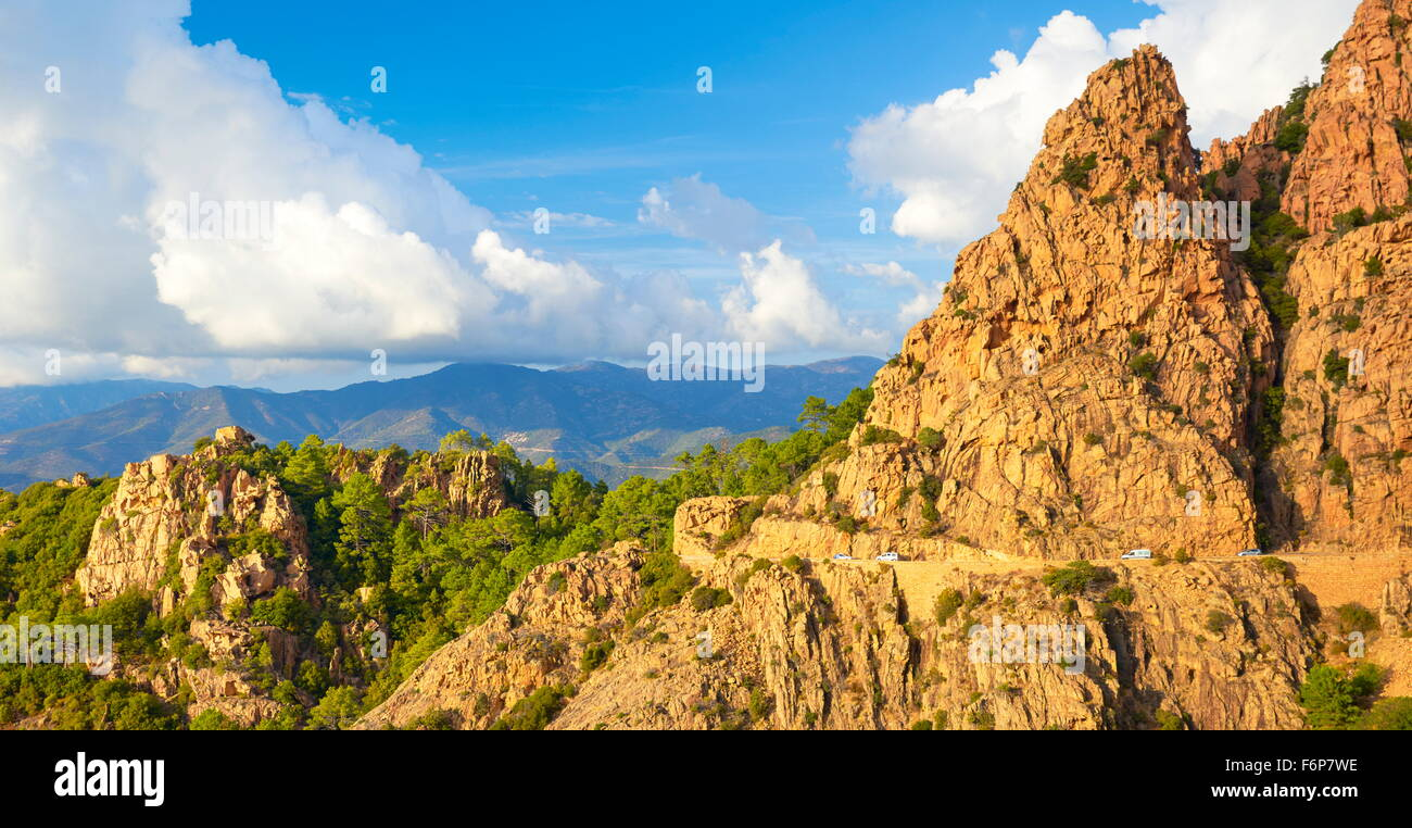 Les Calanches, Felsen vulkanischen rot Formationen Berge, Golfe de Porto, UNESCO, Piana, Korsika, Frankreich Stockbild