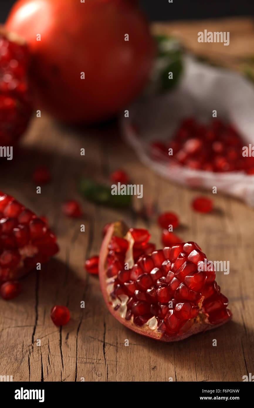 Granatapfel Frucht gesundes Essen frische Bio Still-Leben Vegetarier saftig Antioxidans Stockfoto
