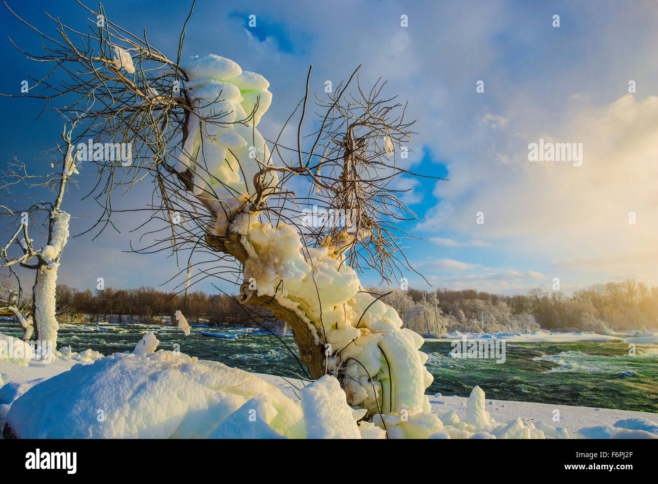 Haken an den Niagarafällen in Winter, Niagara Falls State Park, New York, American Falls vereist Stockbild