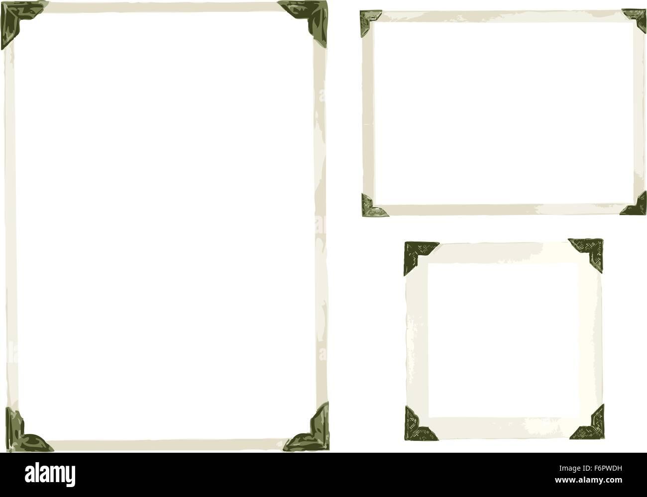 Sammlung von alten Foto-Ecken, Rahmen und Ränder in Vektor isoliert ...