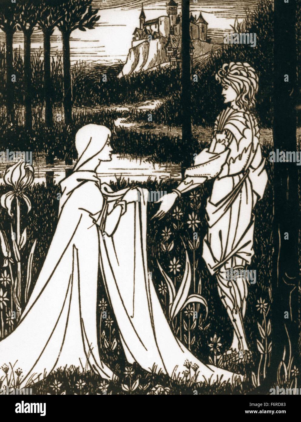 Artus-Legende. König Artus und die Dame des Sees. Gravur. des 19. Jahrhunderts. Stockbild