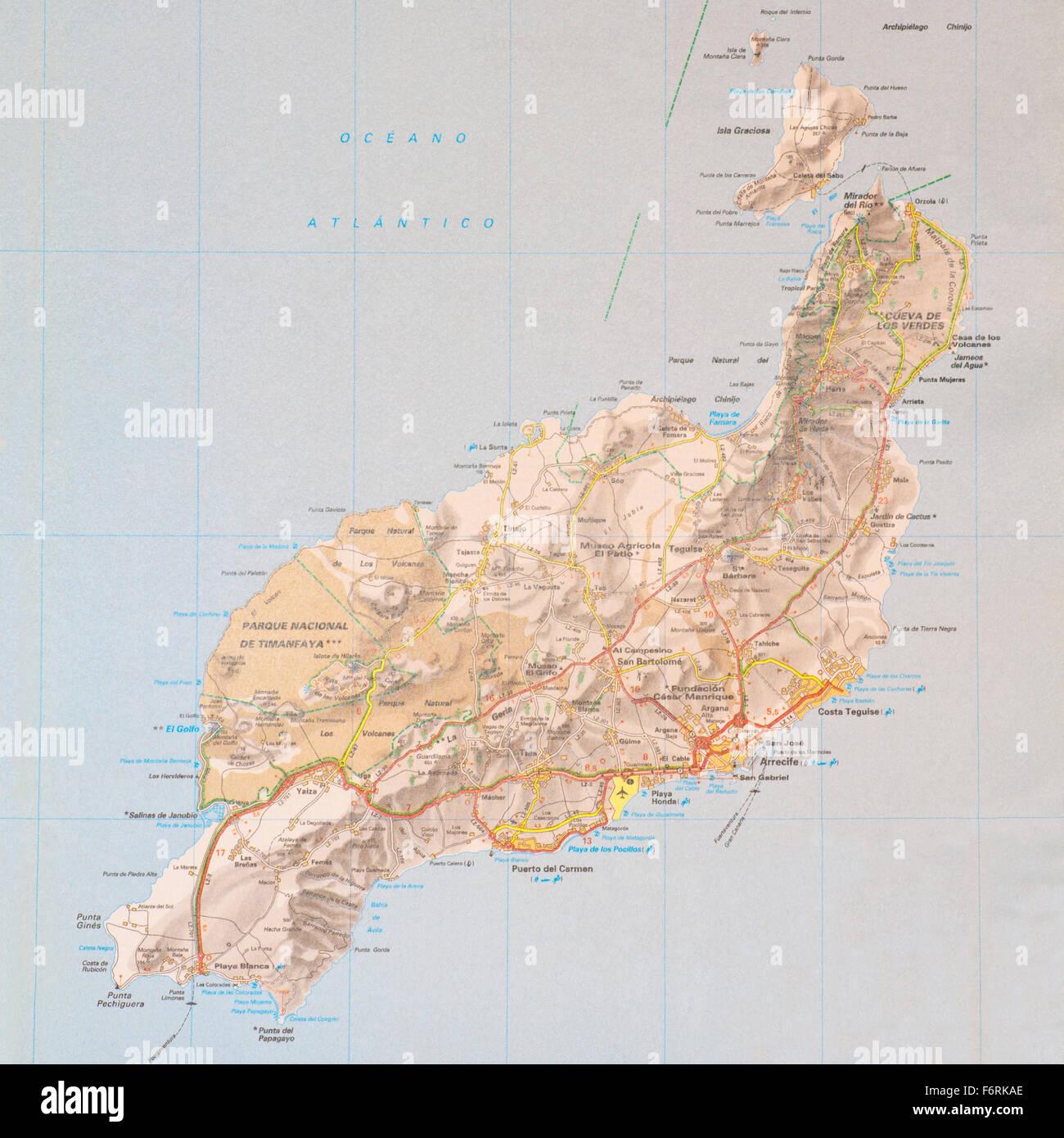 Karte Der Spanischen Kanarischen Insel Lanzarote Stockfotografie