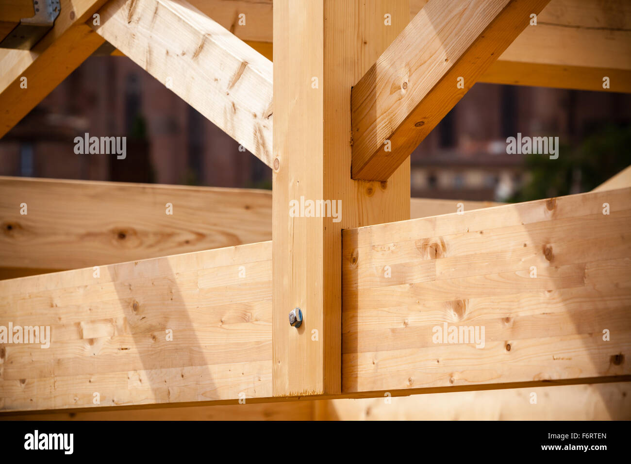 Close Up Wooden Roof Beams Home Stockfotos & Close Up Wooden Roof ...
