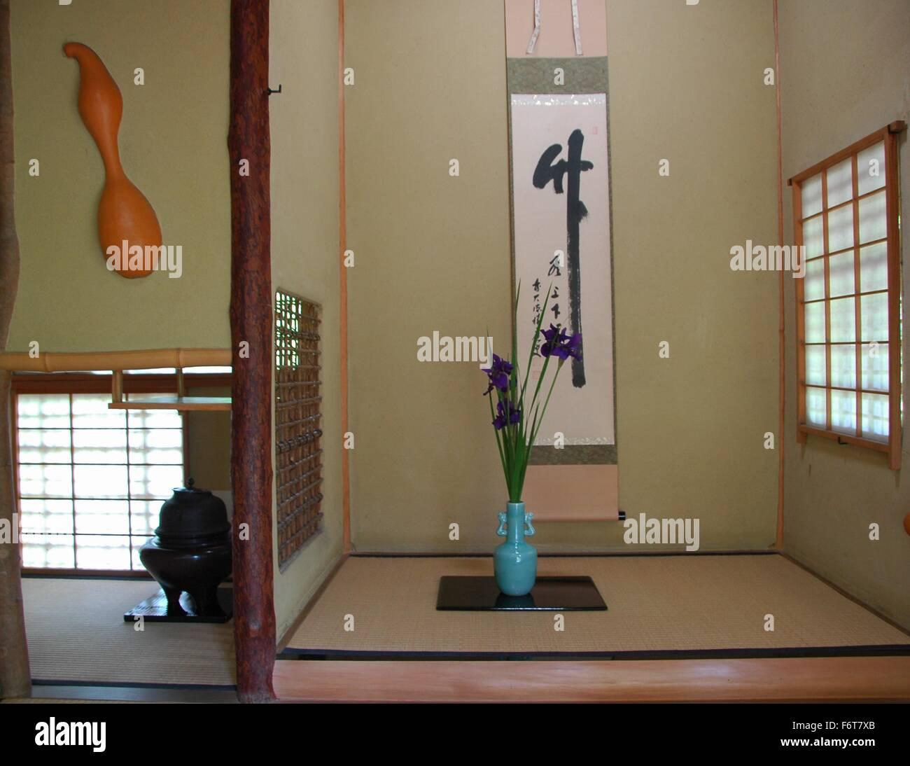 Das Dekor ist ein Teehaus in Japan traditionelle japanische ...