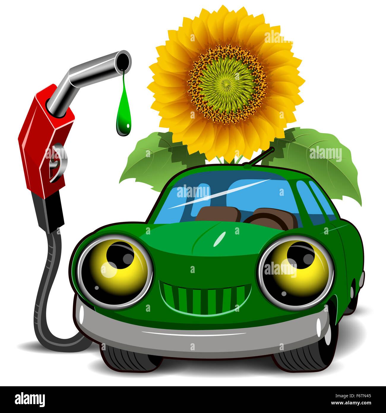 Beispiel für ein grünes Auto Betanken und Sonnenblumen Stockbild