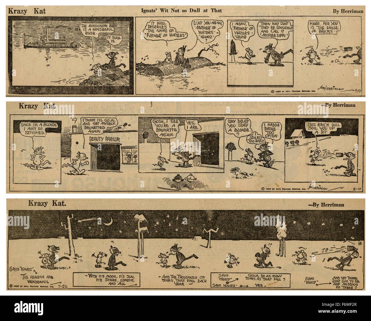 Drei 1920 Streifen Krazy Kat Comics von George Herriman, mit Krazy Kat und Ignatz Mouse. Stockbild