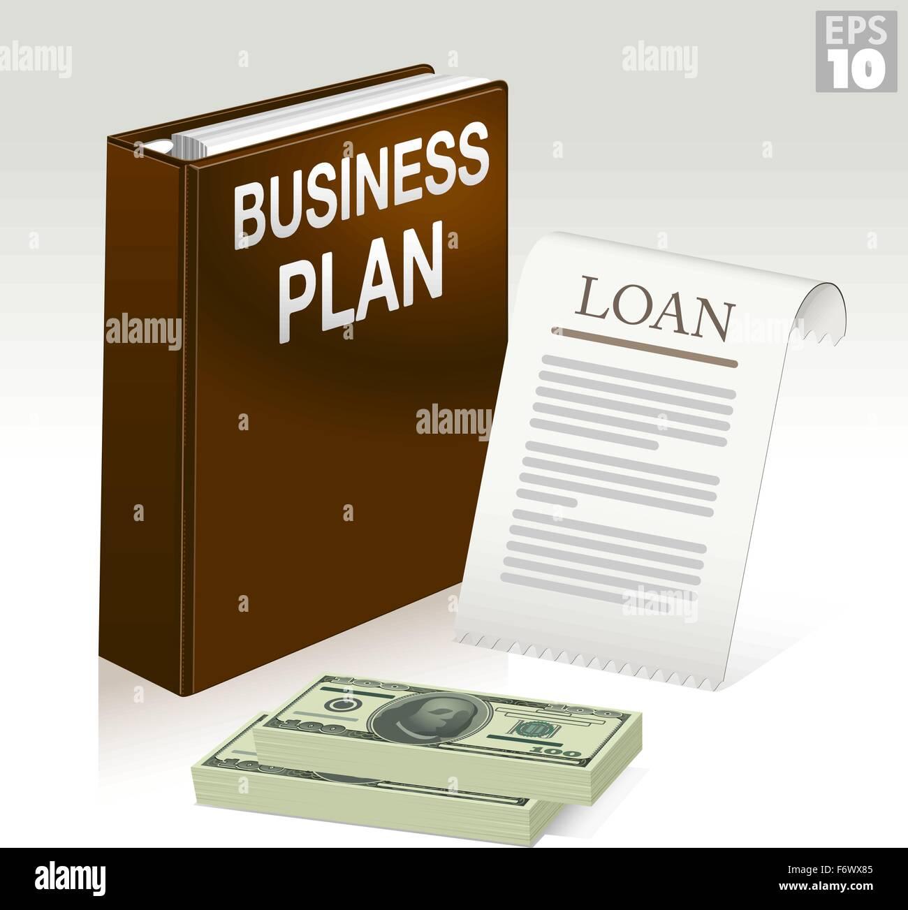 Business-Plan-Ordner, Darlehen Anwendungsdokument und Stapel von ...