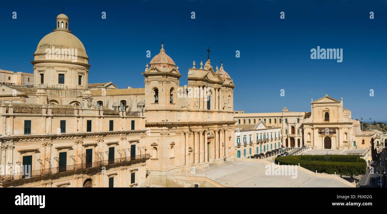 Historisches Zentrum der Barockstadt Noto, Sizilien, Italien Stockbild
