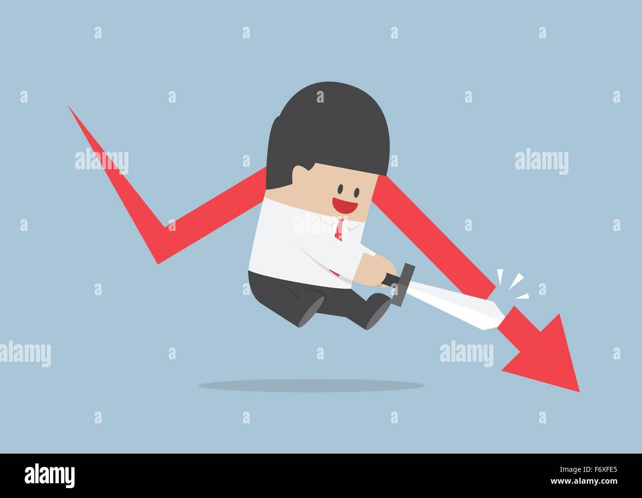 Geschäftsmann, schneiden die fallende Graphen, Börse, Finanzkonzept, Vektor, EPS10 Stockbild