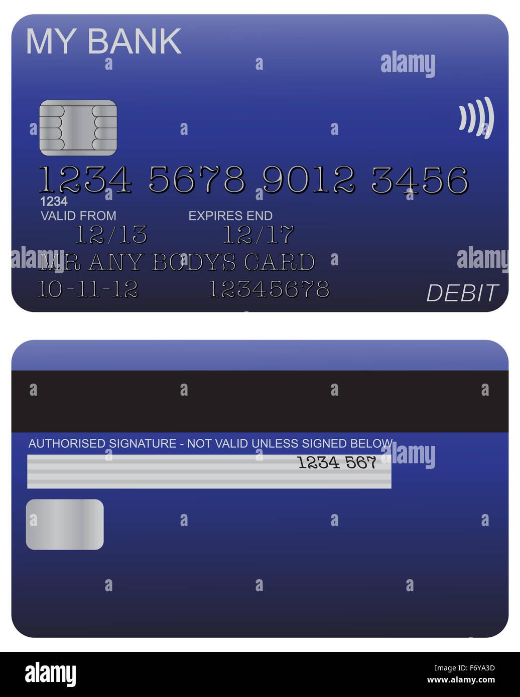 Vorder- und Rückseite des blauen Debit Kartendesign mit Detail ...