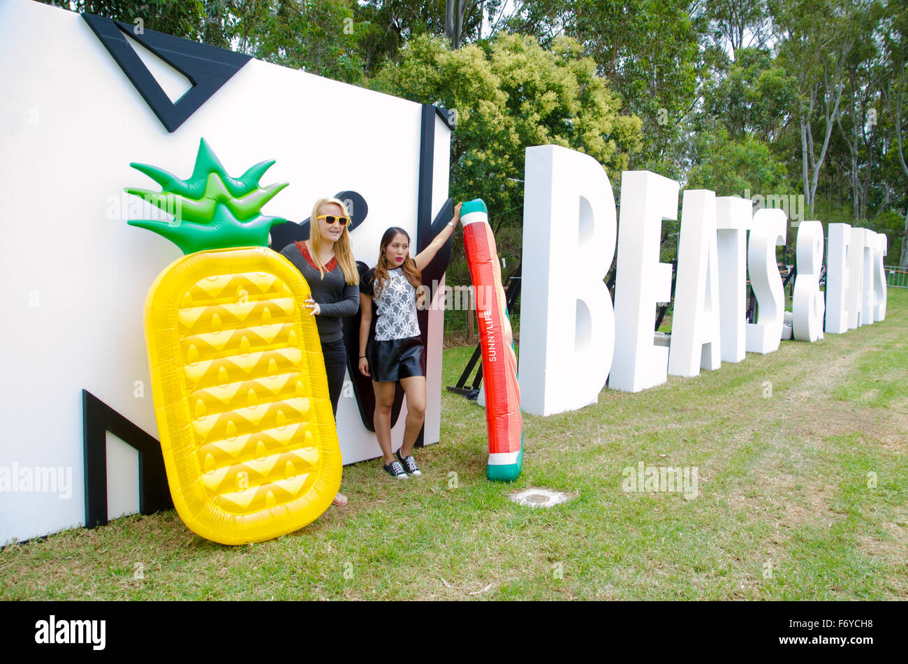 Sydney, Australien. 21. November 2015. MTV schlägt und isst Music Festival-Logo angezeigt. Das Festival fand Stockbild