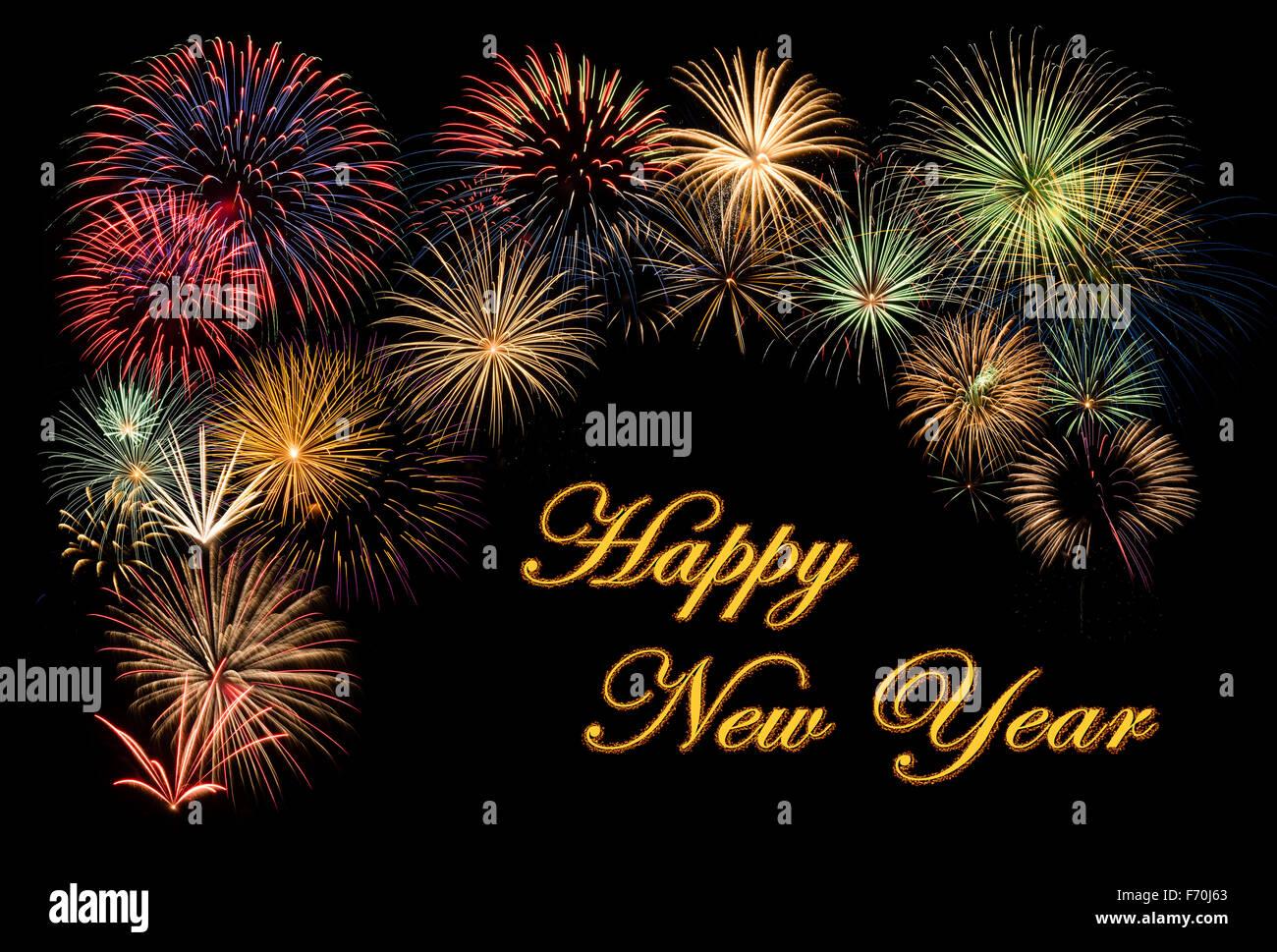 Festlichen Feuerwerk für ein frohes neues Jahr Wünsche Stockfoto ...