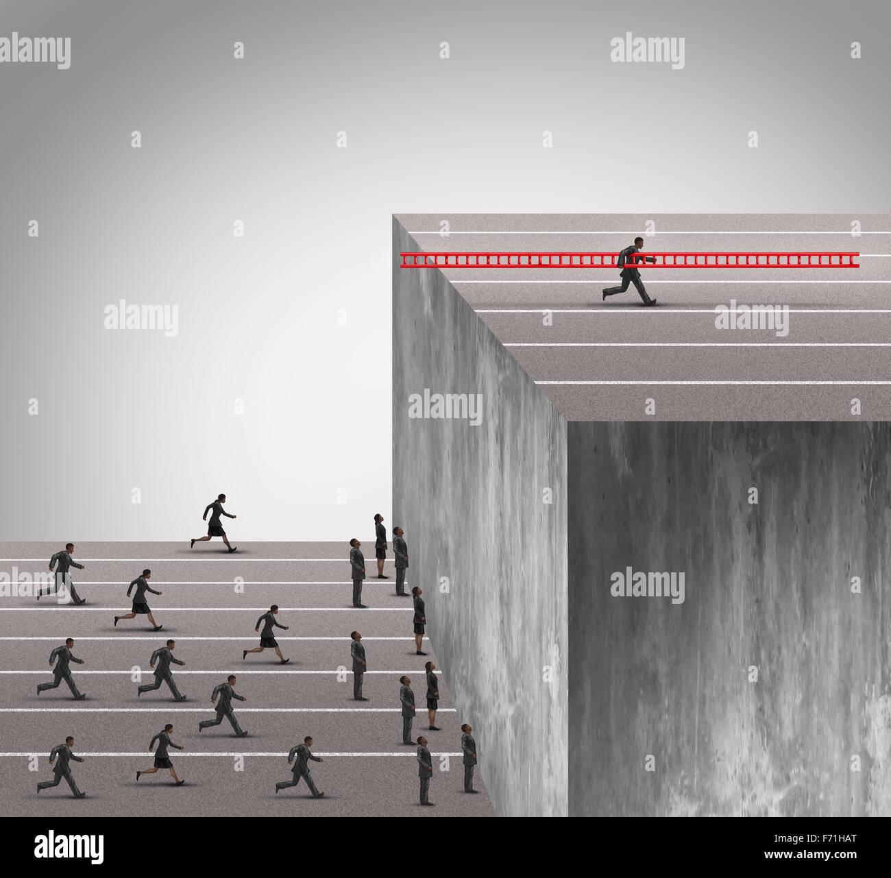 Business Innovation Vorteil-Konzept als eine Gruppe von Geschäftsleuten läuft in einer hohen Mauer Hindernis Stockbild