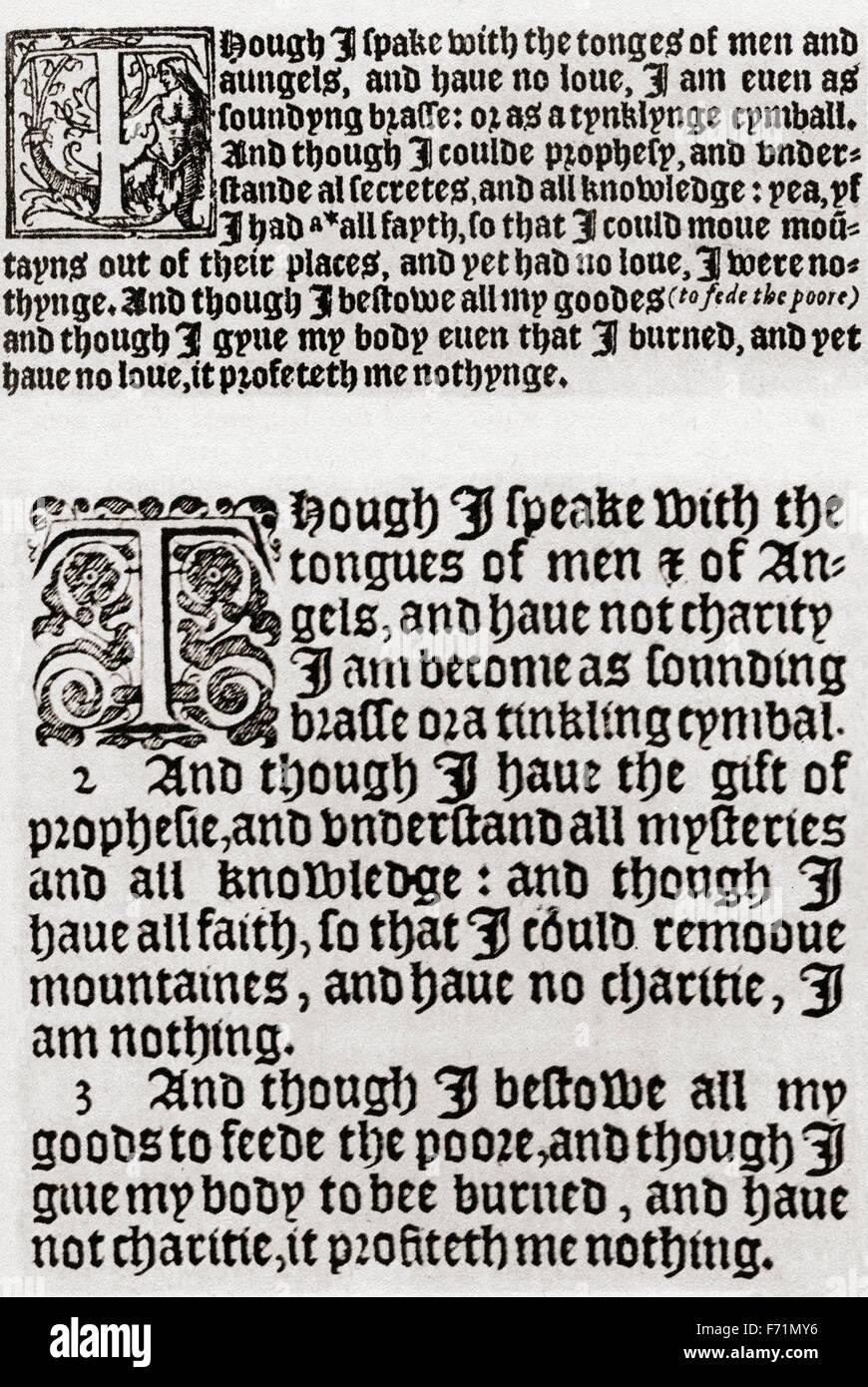 Ein Vergleich zwischen Tynedales Bibel, 1528: Korinther, Kapitel 13, 1-3, (oben) und autorisierte King James Version, Stockbild