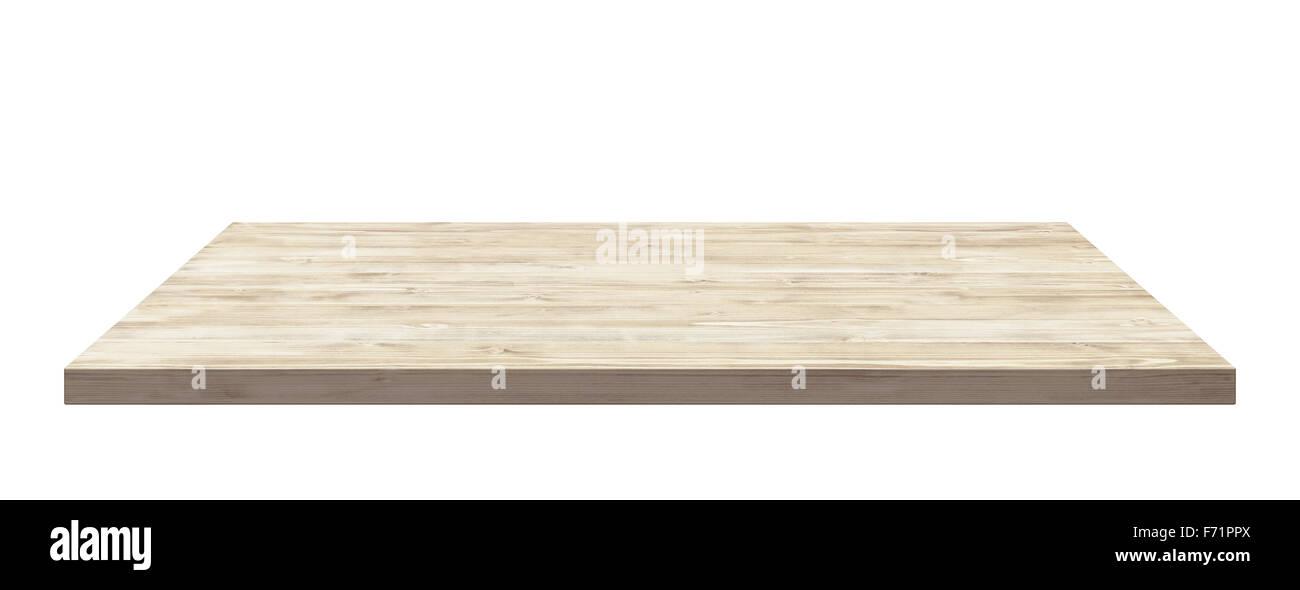 Hölzerne Tischplatte isoliert auf weißem Hintergrund. Stockbild