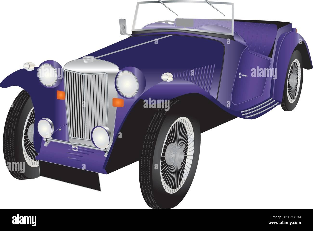 Eine detaillierte Darstellung der lila Vintage Sportwagen mit verchromten Armaturen und Draht Speichen Reifen isoliert Stockbild