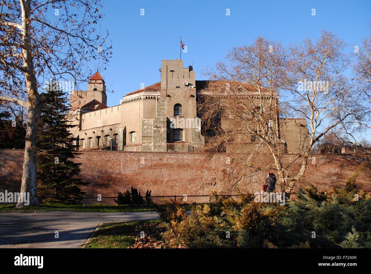 Eine nicht identifizierbare Person fotografieren der Festung von Belgrad. Stockbild
