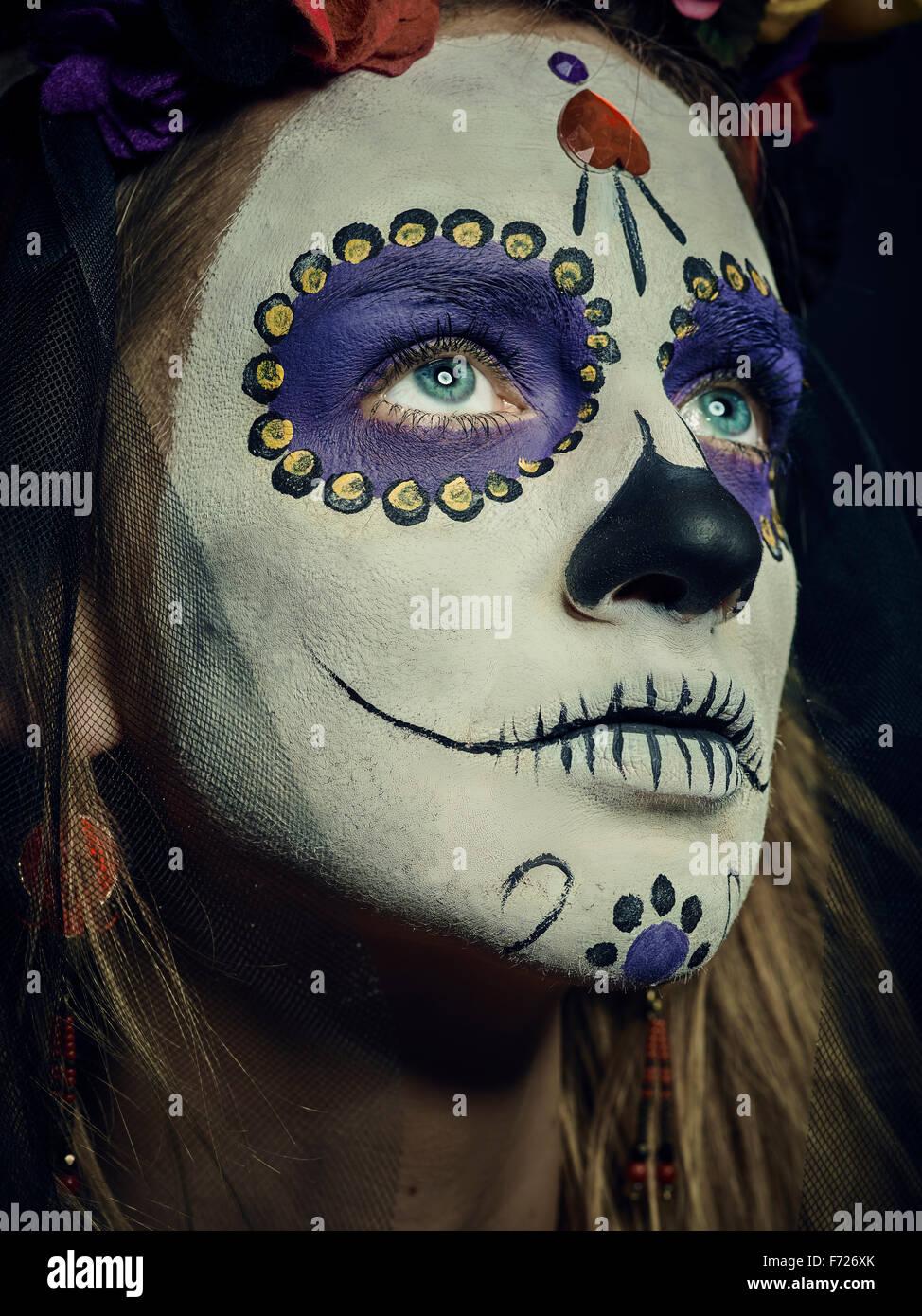 La Muerte. Klassische mexikanische Tag des Todes Make-up Stockbild
