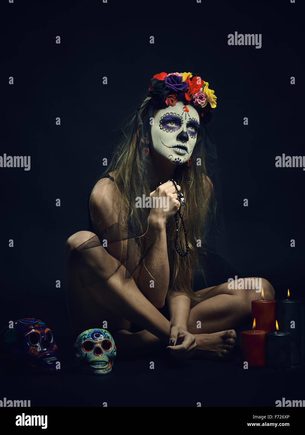 La Muerte. Klassische mexikanische Tag des Todes Make-up Stockfoto