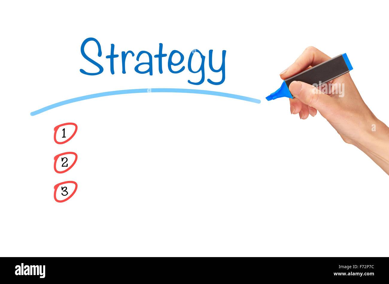 Strategie, in Marker auf einen klaren Bildschirm geschrieben. Stockbild
