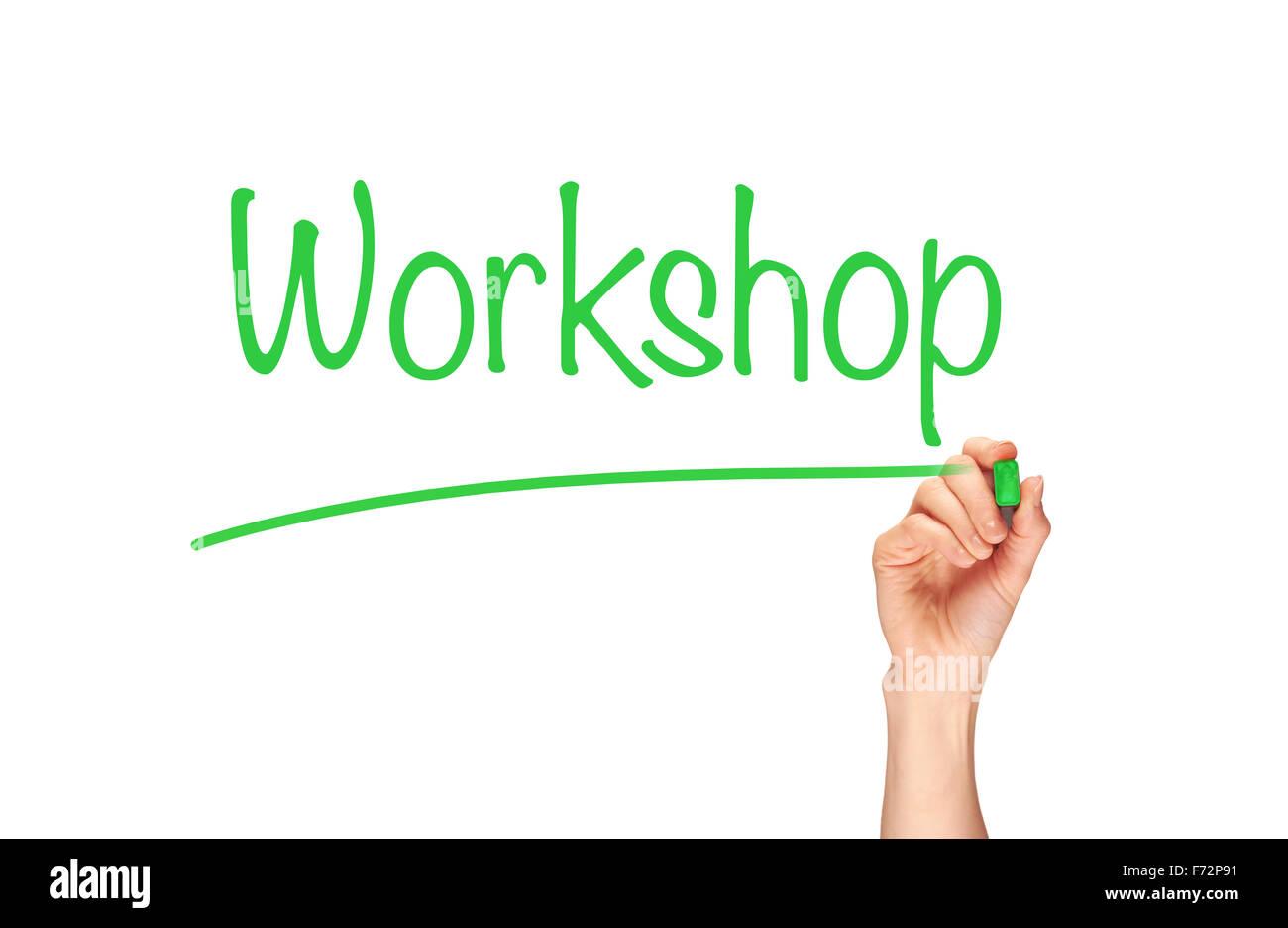 Workshop in Marker auf einen klaren Bildschirm geschrieben. Stockbild