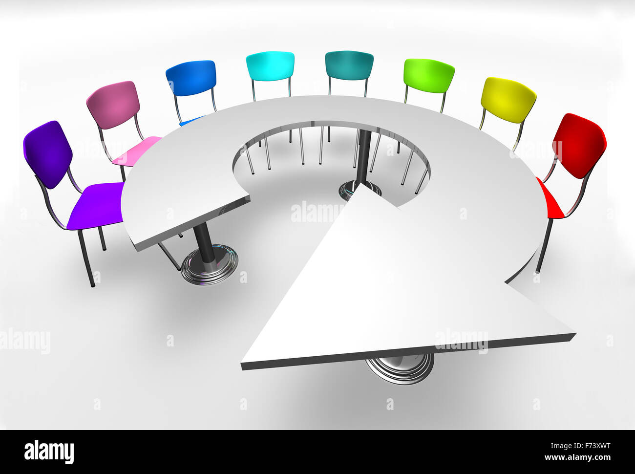 Montage und Meeting-Konzept. Design-Möbel und Stühle Stockbild