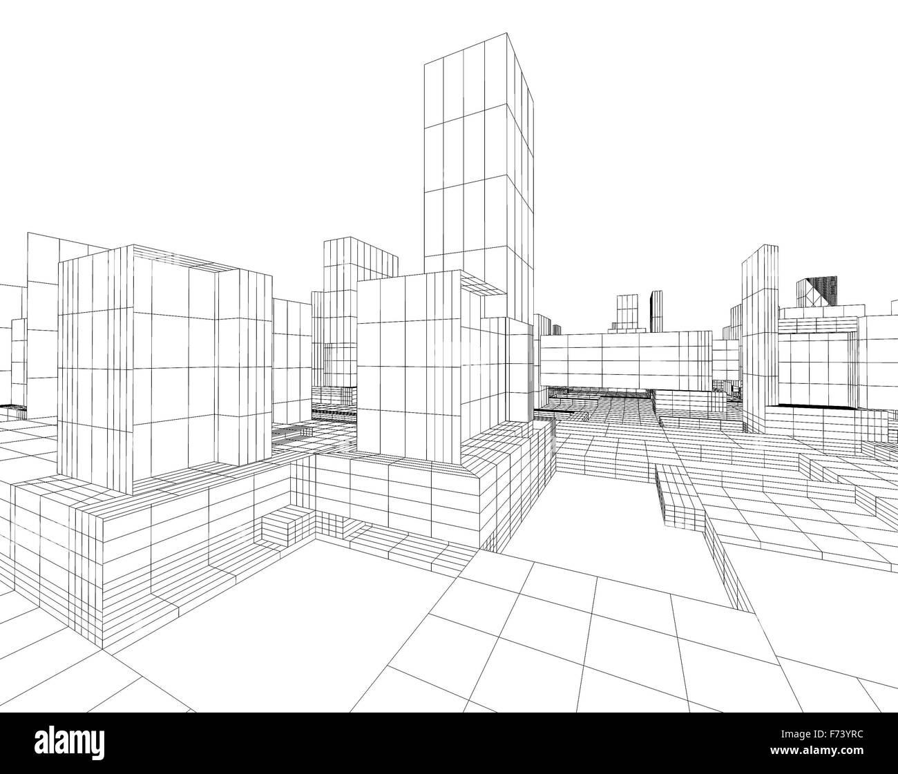 3D Bild der Stadt Blaupause mit Wolkenkratzer und Straße Stockfoto ...