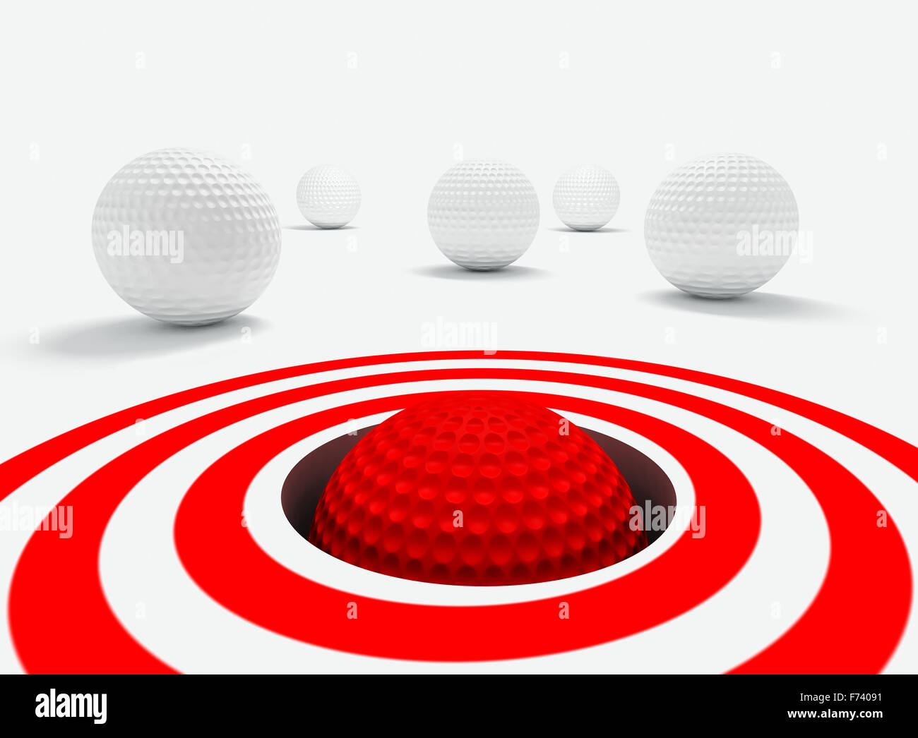 Konzeptionelle 3D-Bild des Erfolgs mit Golfbällen Stockbild