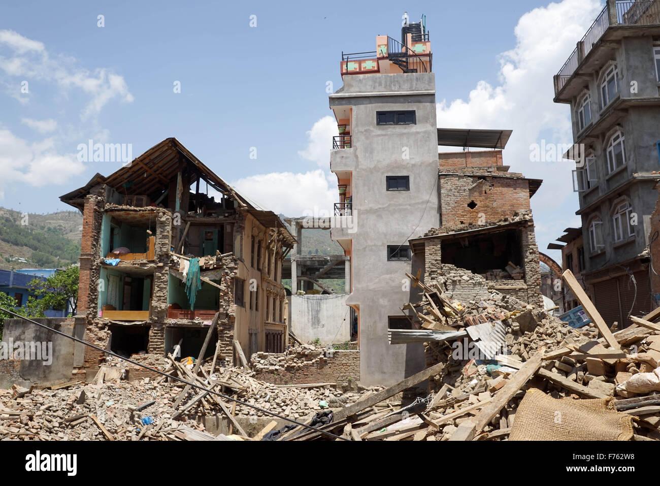 Wohn Gebäude eingestürzt, Nepal, Asien Stockbild
